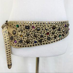 Vintage Gold Tone Embellished Leather Belt